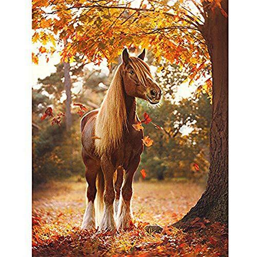 SHQBZPYS 5D DIY diamant schilderij diamant borduurwerk herfst paard