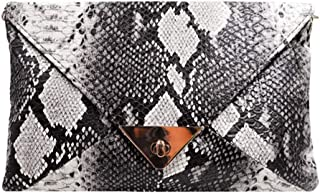 Women Snakeskin Pattern Handbag Envelope Clutch Bag Retro Purse