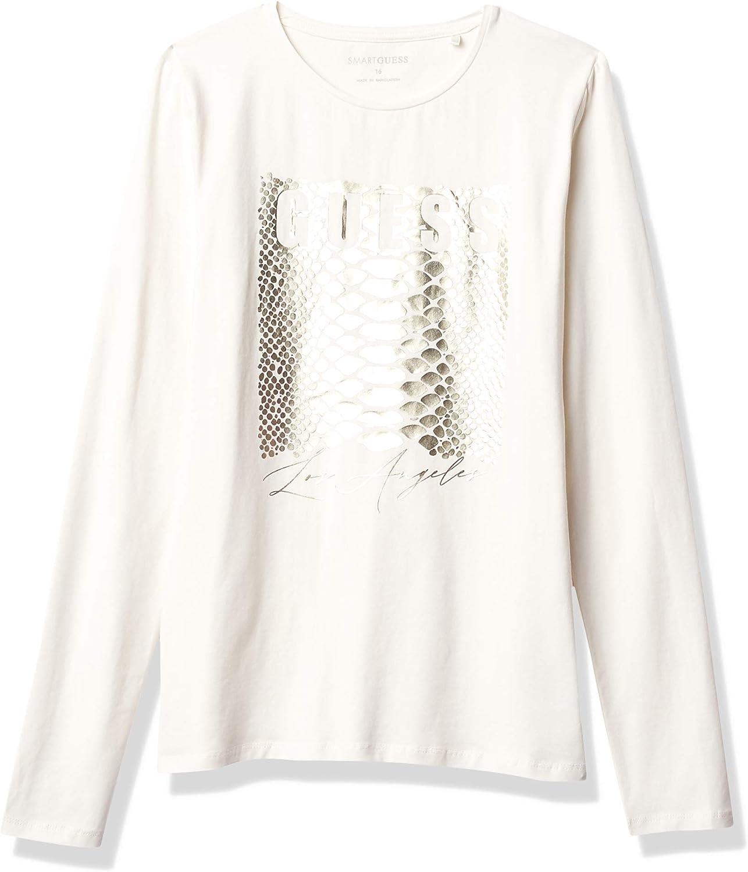 GUESS Girls' Big Long Sleeve Logo T-Shirt