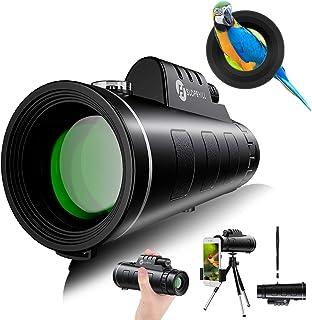Telescopio Monocular, slopehill 12x50 HD Telescopio Impermeable Monocular para Móvil con Trípode y Adaptador para Smartpho...