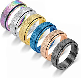 Spinner Rings for Women Anxiety Relief - Fidget Rings Set for ADHD Autism Men Birthday Jewelry Gift 6PCS