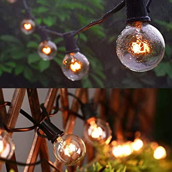 Guddl Outdoor String Lights 50ft Patio Lights with 55 G40 Bulbs (5 Spare), Connectable Globe String Lights for Party ...