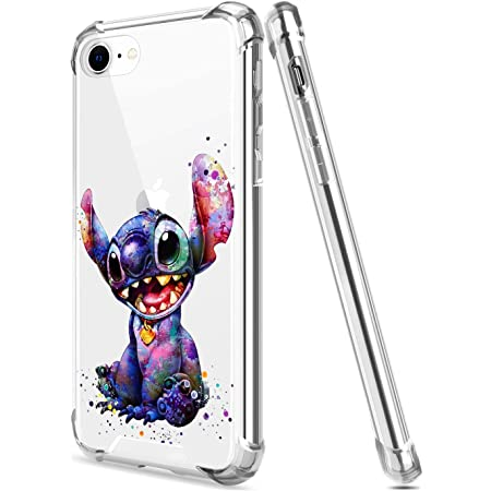 Crystal Clear iPhone 7/8/SE 2020 Case with 4 Corners Shockproof Protection,Cute Cartoon Design Soft TPU Bumper and Anti-Scratch PC Back Cover Cases for Men and Women (Colourful-Stitch)