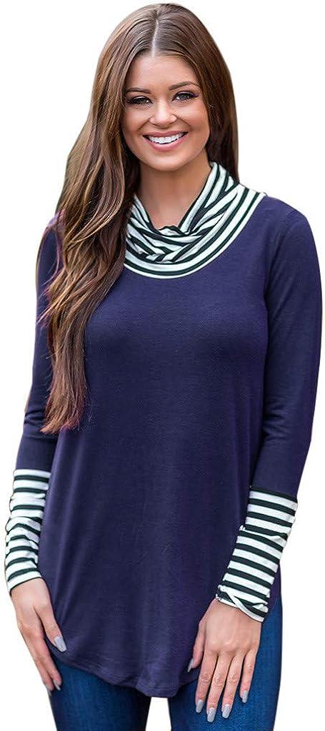 Misaky Women's excellence Long Sleeve Sweatshirt Stripe O-Neck Pullover sale Top