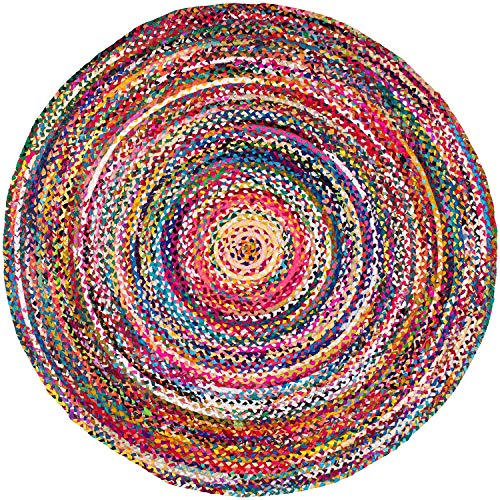 Devik Décor Area Rug for Living Room Hand Woven Jute Area Rug, 3 Feet Round Natural Cotton Jute Rug for Bedrooms and Home & Décor (36 Inches)