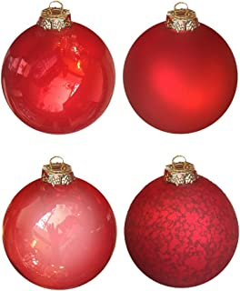 Mark Roberts Large Red Glass Ball Ornaments Set of 4 with Assorted Finishes. 4 inch Diameter
