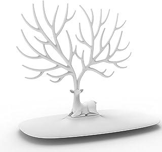 DEWEL ジュエリーラック  ジュエリースタンド インテリアスタンド  鹿型 ツリー型  ピアス  ネックレス  チェーン  飾り物  指輪  ブレスレット イヤリング収納 耐久性  ディスプレイ用  家庭用  (ホワイト)