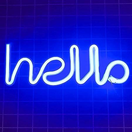 QiaoFei Neon Hello Sign bleu
