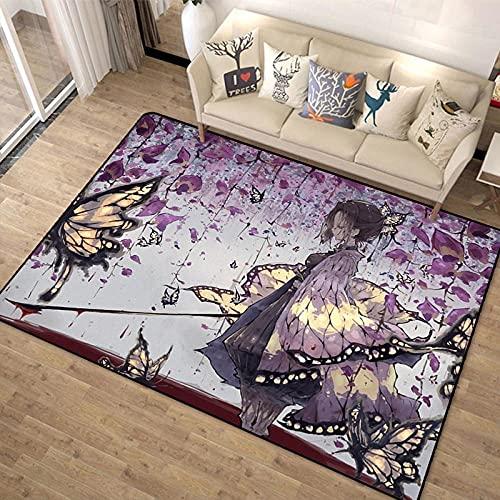 Anime Demon Slayer Print Felpudo Impreso Divertido Alfombra de Dormitorio Ninguno Felpudo Antideslizante Alfombra de Puerta Delantera Antideslizante-A_80X120cm