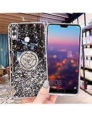 JAWSEU Funda Compatible con Huawei Honor 8X con Anillo Soporte, Brillante Brillo Diamantes Strass Transparente Liquida Cristal Diseño Ultra Delgada Suave Silicona TPU Gel Goma Bumper Carcasa,Negra
