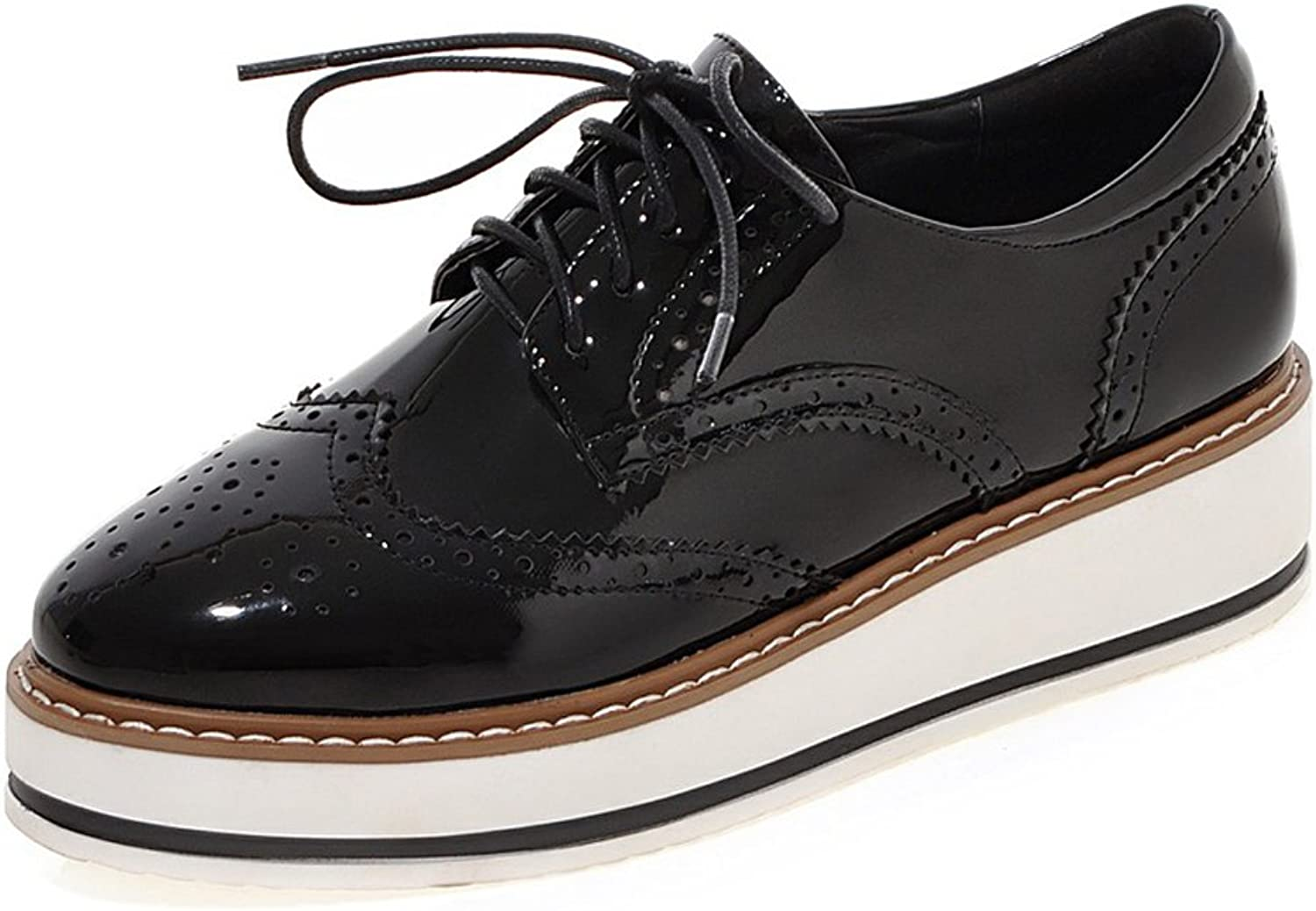 MINIVOG Treaded-Sole Square-Toe Brogue Womens Wedge shoes