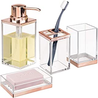mDesign Square Plastic Bathroom Vanity Countertop Accessory Set - Includes Soap Dispenser Pump, Divided Toothbrush Holder, Tumbler Rinsing Cup, Soap Dish - 4 Pieces - Clear/Rose Gold