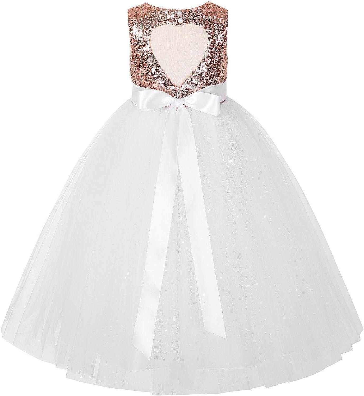 ekidsbridal Heart Cutout Sequin Junior Flower Girl Dress Special Events Party Gown 172seq