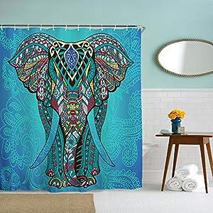 IcosaMro Elephant Shower Curtain for Bathroom with Hooks, Blue Boho Boheme Decorative Long Cloth Fabric Shower Curtain Bath Decorations- 71Wx72L, Blue