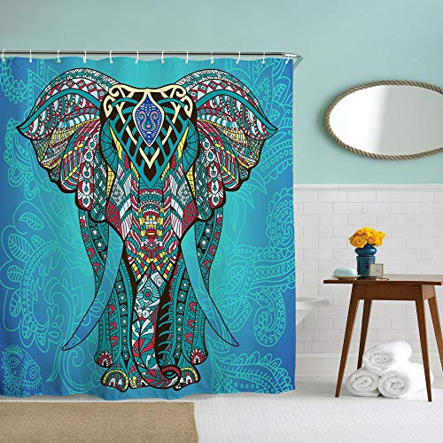 IcosaMro Elefanten-Duschvorhang für Badezimmer mit Haken, Blau Boho Boheme Dekorative Lange Tuch Stoff Duschvorhang Baddekoration - 71 x 72 L blau