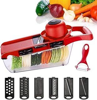 ZJZ Hachoir à légumes, avec lame en acier, éplucheur à pommes de terre, râpe à carottes, trancheuse à légumes, accessoire ...