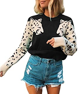 Womens Casual Knitted Tiger Leopard Print Long Sleeve Sweater Jumper Crop Top Pullover