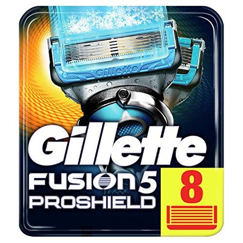 Gillette Fusion 5 ProShield Chill Cuchillas de Afeitar Hombre, Paquete de 8 Cuchillas de Recambio