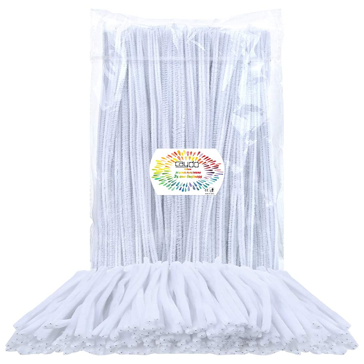 Caydo 350 Pieces Chenille White Pipe Cleaners for DIY, Art Creative Crafts Decorations (6 mm x 12 inch)