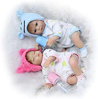 Soft Awake Boy + Asleep Girl Twins Baby Nurturing Dolls 17''42Cm Soft Silicone Cloth Body Reborn Baby Doll For Sale Fashion Kids Birthday Gifts,Girl And Boy Doll Twins?17 Inches About 43Cm for Patien