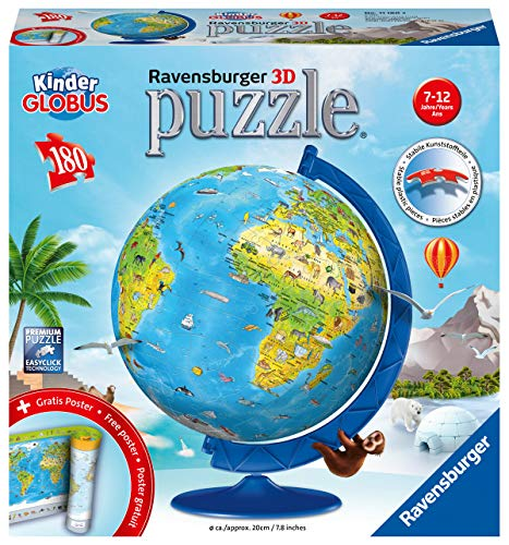 Ravensburger 3D Puzzle 11160 - Kinderglobus in deutscher Sprache - 180 Teile