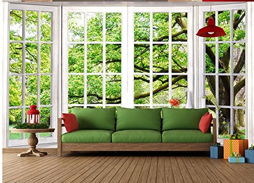 Yosot 3D op maat gesneden behang groen vensterbank landschap Hd muurschilderijen Living 3D behang Home Decoration 450 cm x 300 cm.