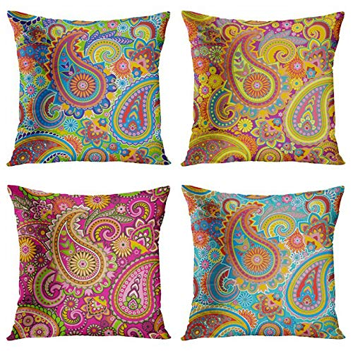 Taysta Throw Pillow Covers Set of 4 Retro Moroccan Floral Traditional Asian Paisley Cashew Flowers Yellow Blue Green Pink Spring Summer Decorative 16'x16' Cushion Pillow Cases for Sofa Bed Chair