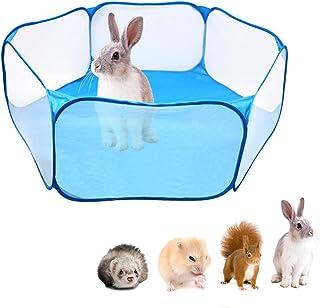 Fsskgxx - Tienda de campaña para pequeños animales, parque portátil abierto para recintos para animales domésticos para cobayas, conejos, hámsters, chinchillas y erizos, color azul