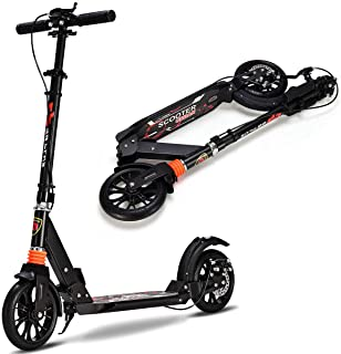 Goplus Foldable Scooter for Teens and Adults w/Smart Brake System, Easy Folding Design, Dual Suspension, Height Adjustable Handlebar and Oversized Wheels, Adjustable Kick Scooter