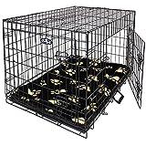 Easipet Large Black Metal Dog Cage With Black Pawprint Bed 36'