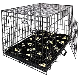 Easipet Large Black Metal Dog Cage With Black Pawprint Bed 36″