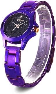 Weiqin Watches for Women, Casual Fashion Watch Creative Starlight Dial Rhinestone Waterproof Quartz Purple Watch