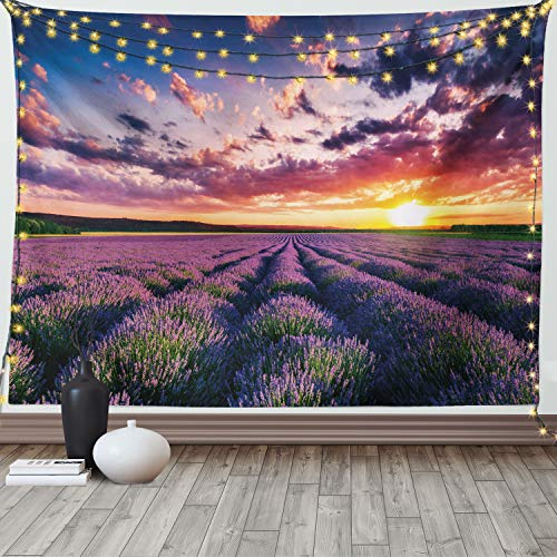 Ambesonne Lavender Tapestry, Blooming Fields in Endless Rows Agriculture Aromatherapy Rural Countryside Image, Wide Wall Hanging for Bedroom Living Room Dorm, 80' X 60', Lilac Orange