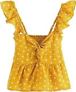 743af90cc1 SheIn Women's Sleeveless Twist Knot Polka Dot Ruffle Hem Crop Tank Top  Blouses