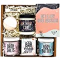 Birthday Gifts for Women by Wax & Wit | Relaxing Gift Basket for Women Wife Sister Girlfriend, Spa Set Birthday Box includes 7 Piece Set, Happy Birthday