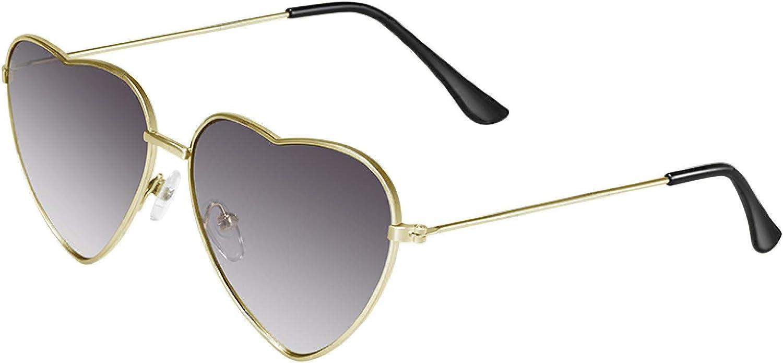 ShSnnwrl Gafas De Moda Gafas De Sol Gafas De Sol De Metal En Forma De Corazón para Mujer Gafas De Sol con Protección UV Multicolor Gafas De Sol para Muje