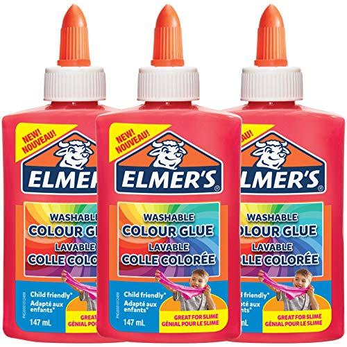 Elmer's Wasbare Kleur PVA Lijm | Roze | 147 ml | Geweldig voor het maken van Slijm | 3 Count