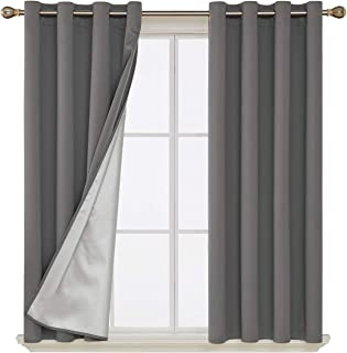 Deconovo Blackout Curtains Grommet Top Thermal Insulated Decorative Home Office Drapes with Silver Coating for Babys Bedroom 52W x 63L Inch Light Grey 2 Panels