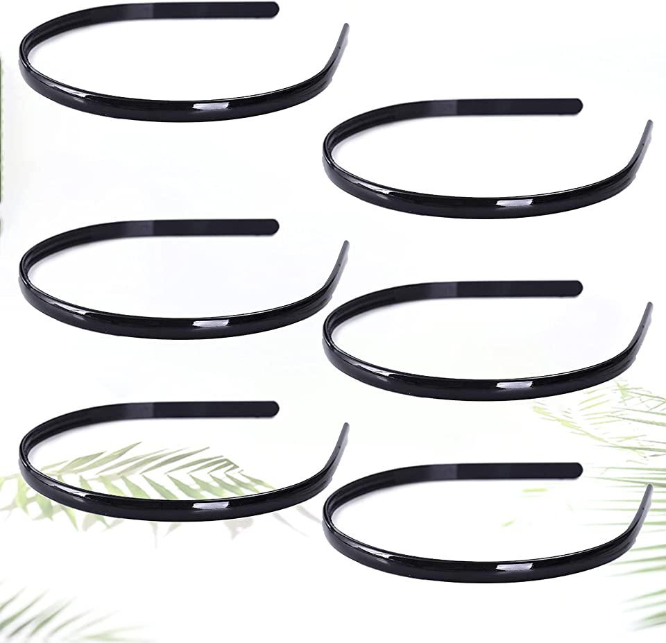 6 pieces of simple pure black hair band tooth comb hair band Alice band girl children's hair band plastic hair band unisex