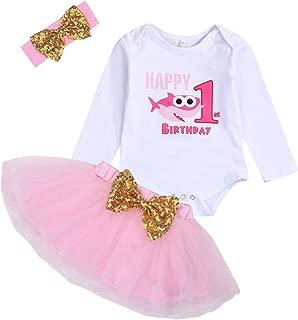 Baby Girl Birthday Shark Cake Smash Outfit Infant Girl 1st Birthday Romper Tutu Skirt with Headband Clothes Set