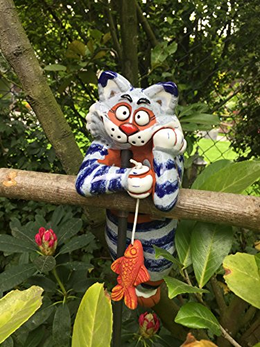 TB Katze Gartenkugel Gartenstecker Blumenstecker Keramik Frostfest