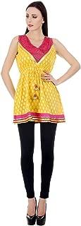 Devaleena Creations Yellow - Gold and Magenta Cutwork Yoke StyleKurta- for Girls