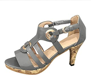 Sunhusing Women's Solid Color Metal Buckle Elastic Band Buckle High Heels Open Toe Sandals Roman Shoes