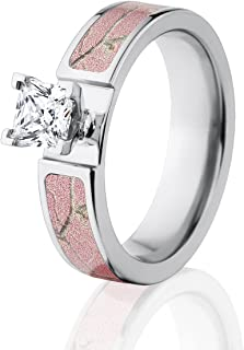 Camo Wedding Rings, Realtree AP Pink Camo Rings with 1 CTW 14k Setting