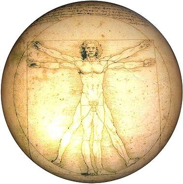 "Parastone - Half Dome Glass Paperweight - Vitruvian Man by Leonardo DaVinci - 3"" x 3"" x 2"" Inches"