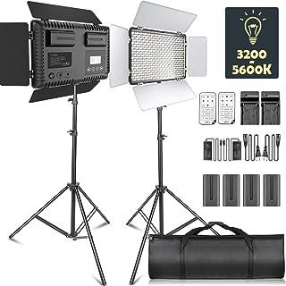 Samtian Led-videolamp, dimbaar, 2 stuks, tweekleurig, 600 leds, video: 3200 K-5600 K, met compartiment, 2 m lichtstatief v...