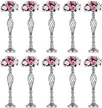Nuptio Set of 10 Versatile Silver Flower Arrangement Stand, Pillar Candle Holder Set for Wedding Party Dinner Centerpiece ...