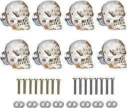 SHINY HANDLES 8Pcs Champagne Crystal Skull Wardrobe Knob Aluminium Alloy Base,1.7x1.5inch, Factory Supply