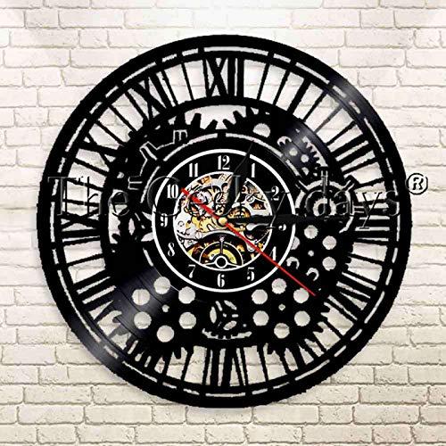 YINU 1 Pieza Steampunk encantos Mecanismo Engranaje Vinilo Disco Reloj de Pared Ruedas dentadas Creativo decoración del hogar Reloj de Pared Reloj de Pared