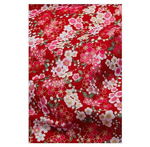 Tela de Bronceado de Estilo japonés Rojo, Tela Hecha a Mano de Bricolaje para Prendas de Vestir, Sakura-3